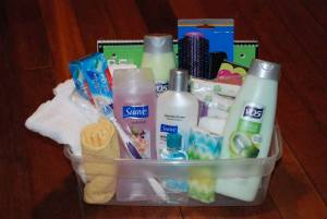 Some of the personal care items we provide.